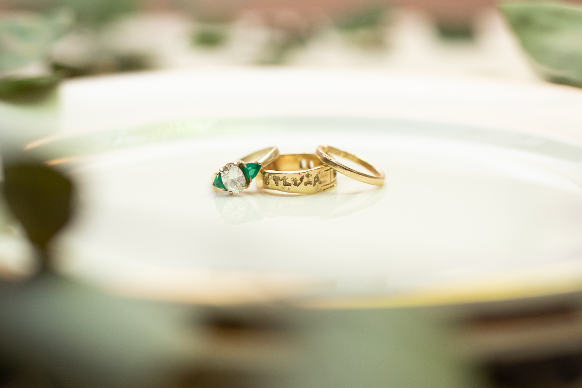 Detail photo of wedding rings.