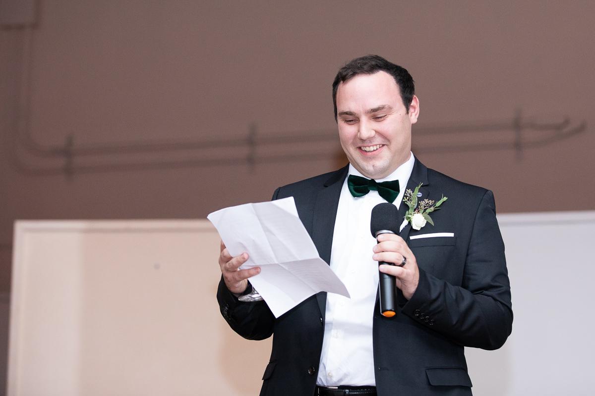 Best man giving speech at wedding reception in Boston.