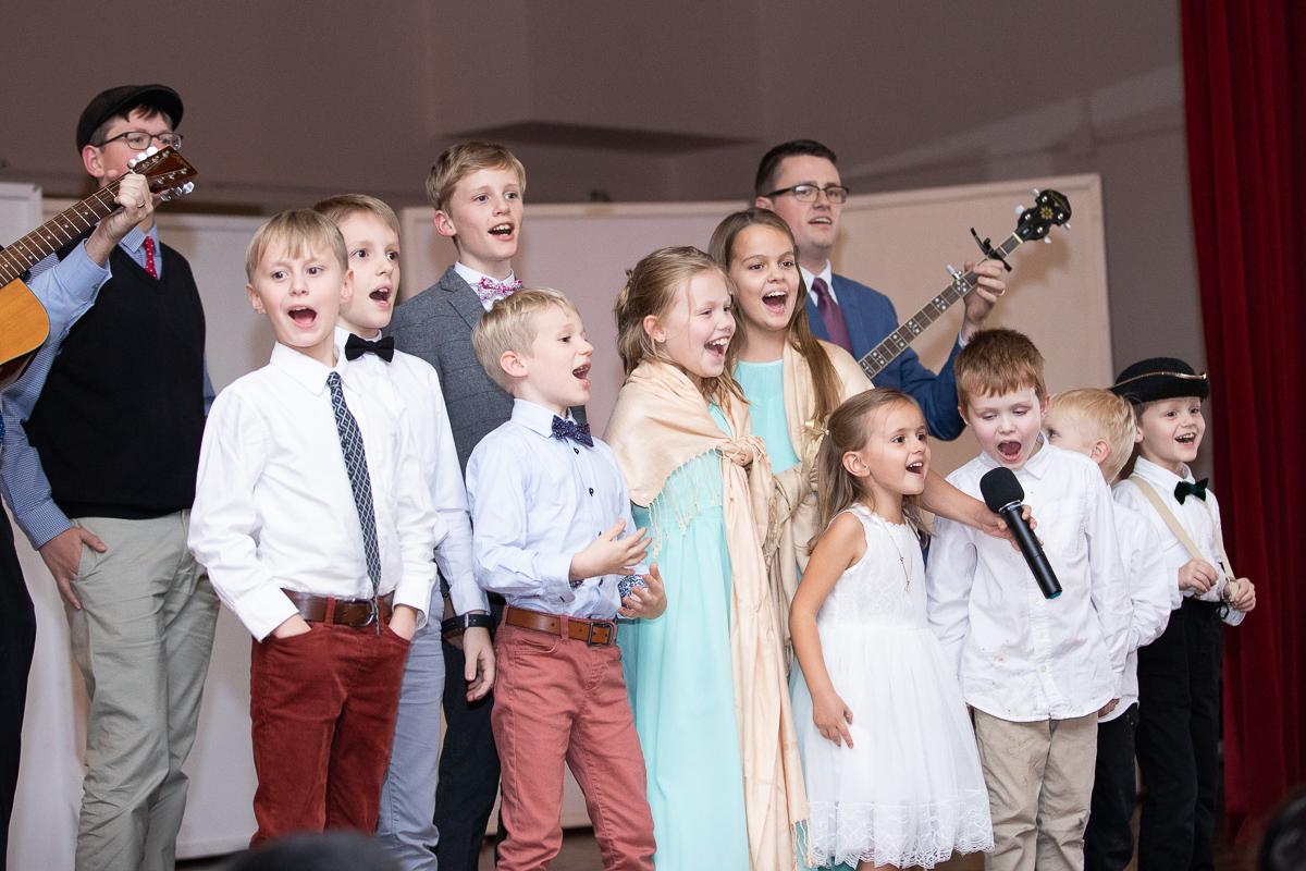 Kids singing at wedding reception in Boston.