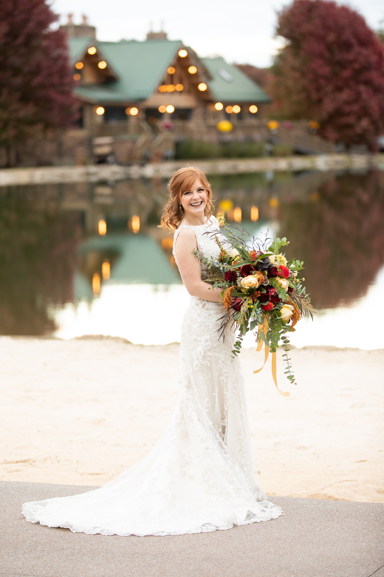 Bride at Autumn styled shoot at The Gathering Place with Bridal Elegance wedding dress and hair by Ashley's Mobile Studio.