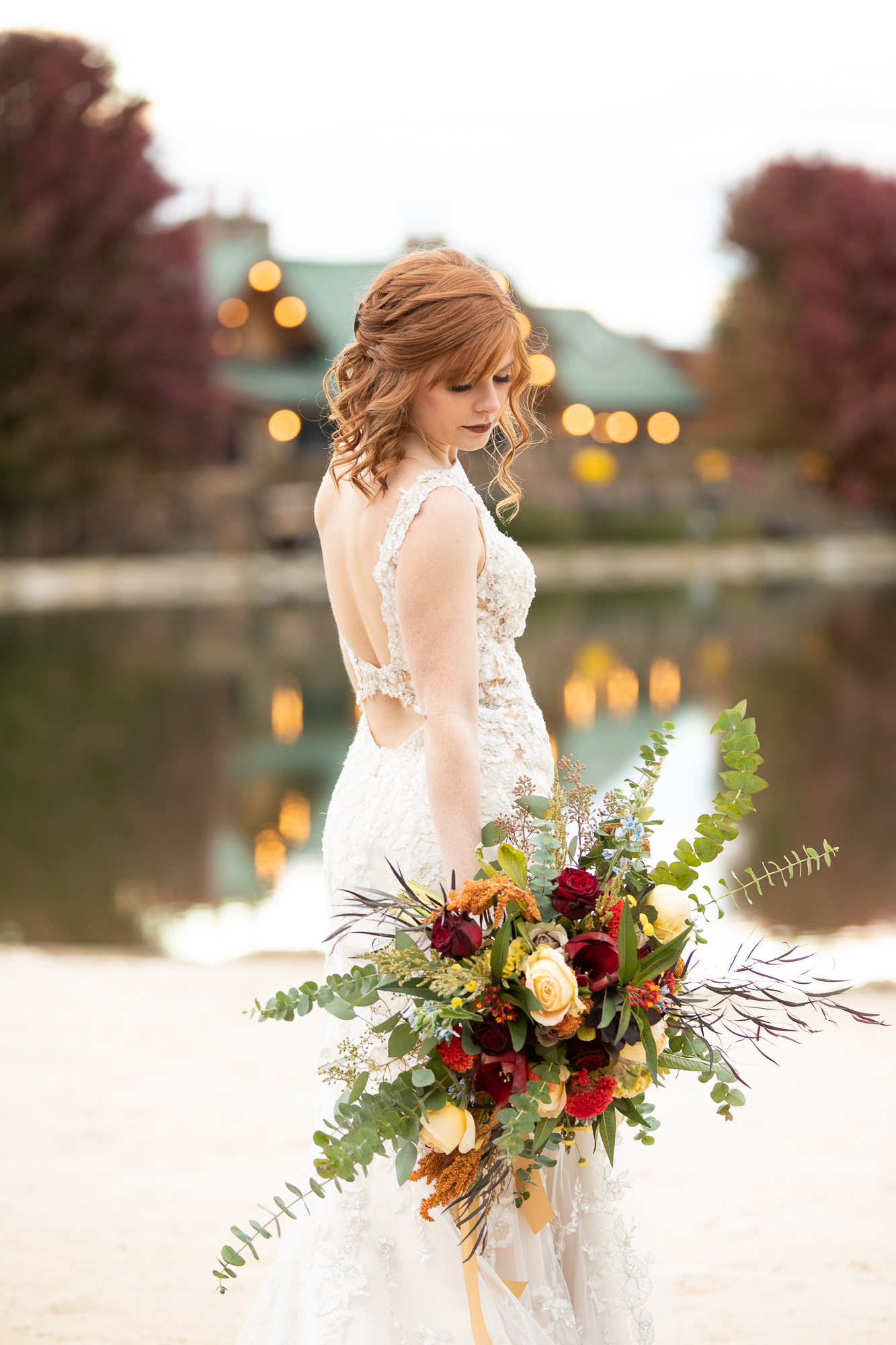 Bride at The Gathering Place at Autumn wedding styled shoot with Bridal Elegance dress.