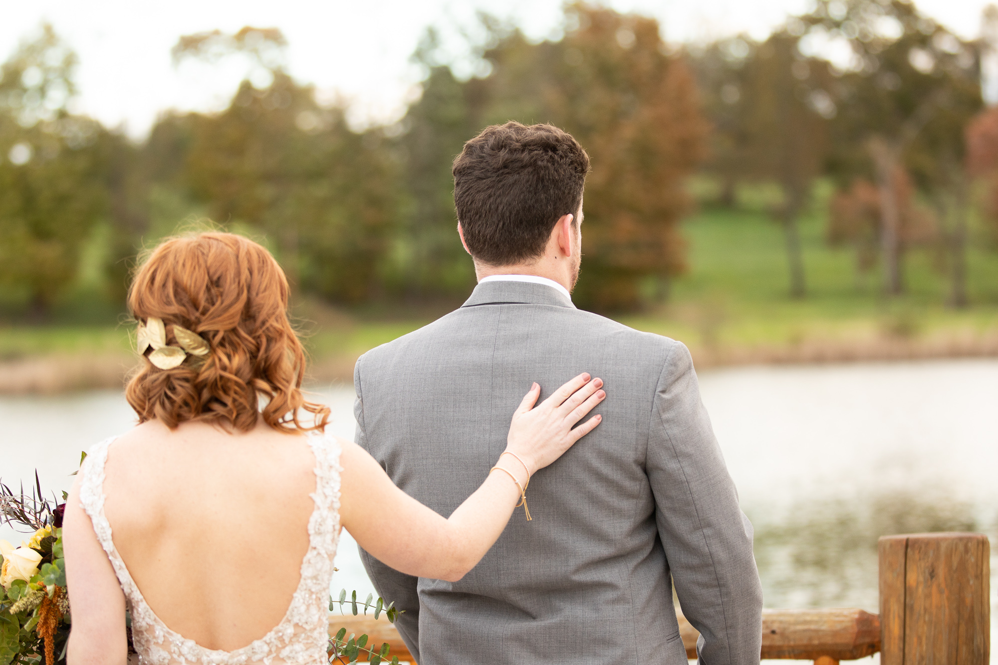Bride and groom first look at autumn styled shoot.