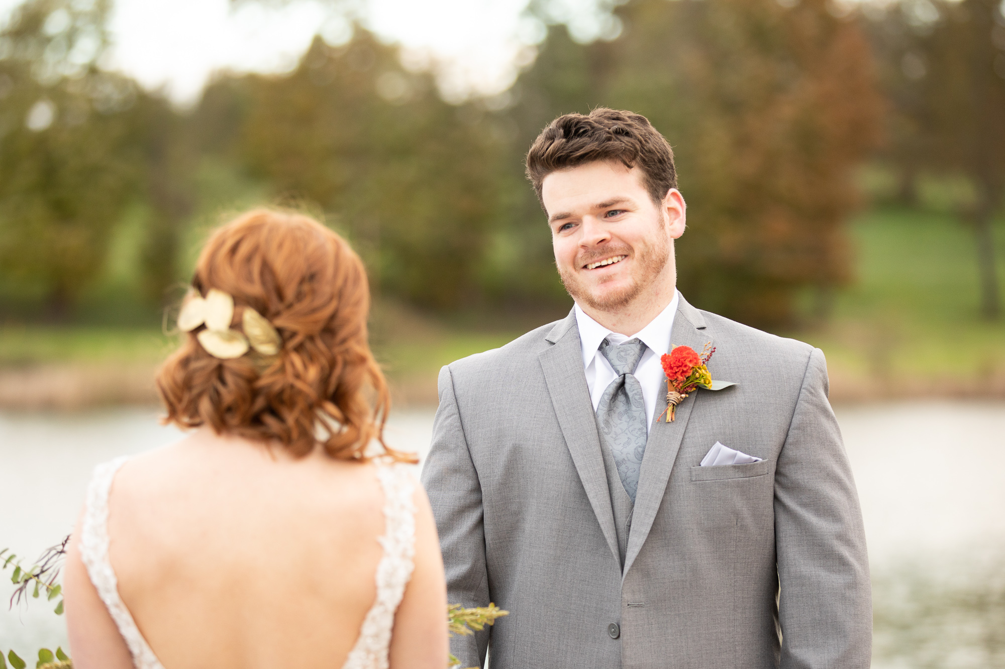 Bride and groom first look at autumn styled shoot at The Gathering Place.