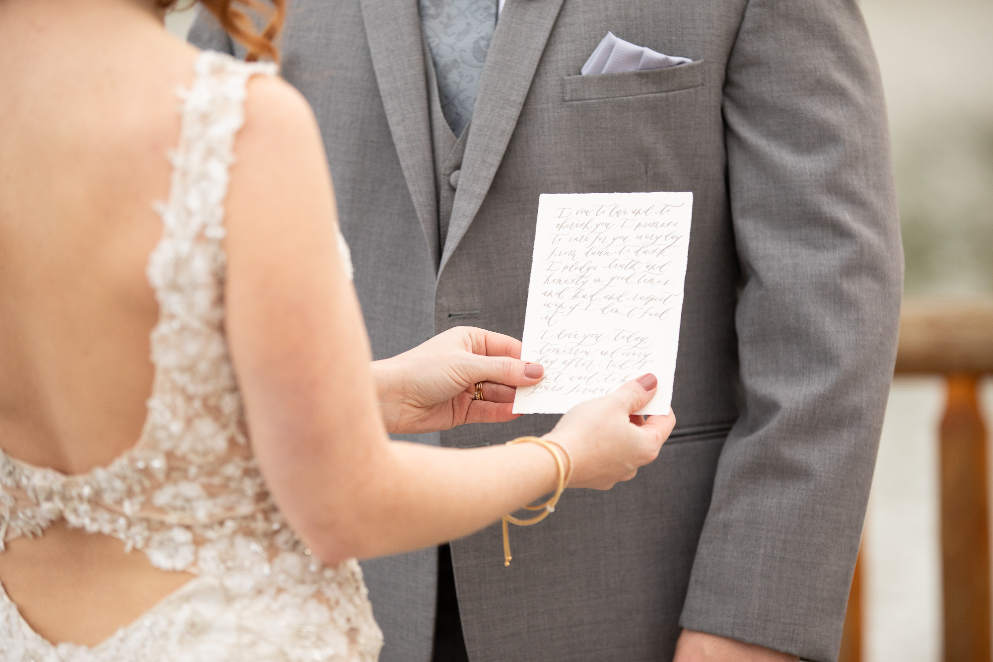 Wood & Grace wedding vows read by bride and groom.