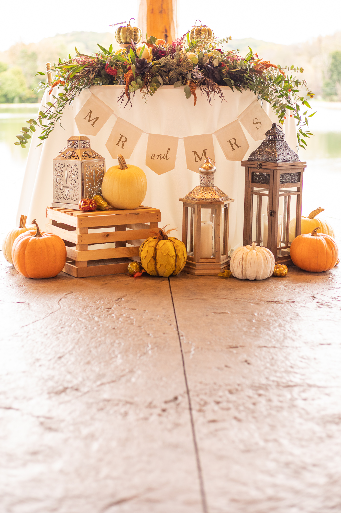 Autumn styled shoot sweetheart table by Events 143, Posies by Patti, and Chelsea Party Center