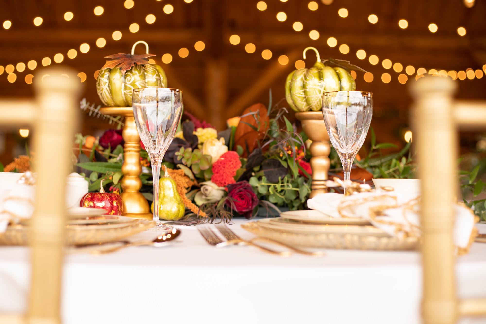 Autumn styled shoot sweetheart table.