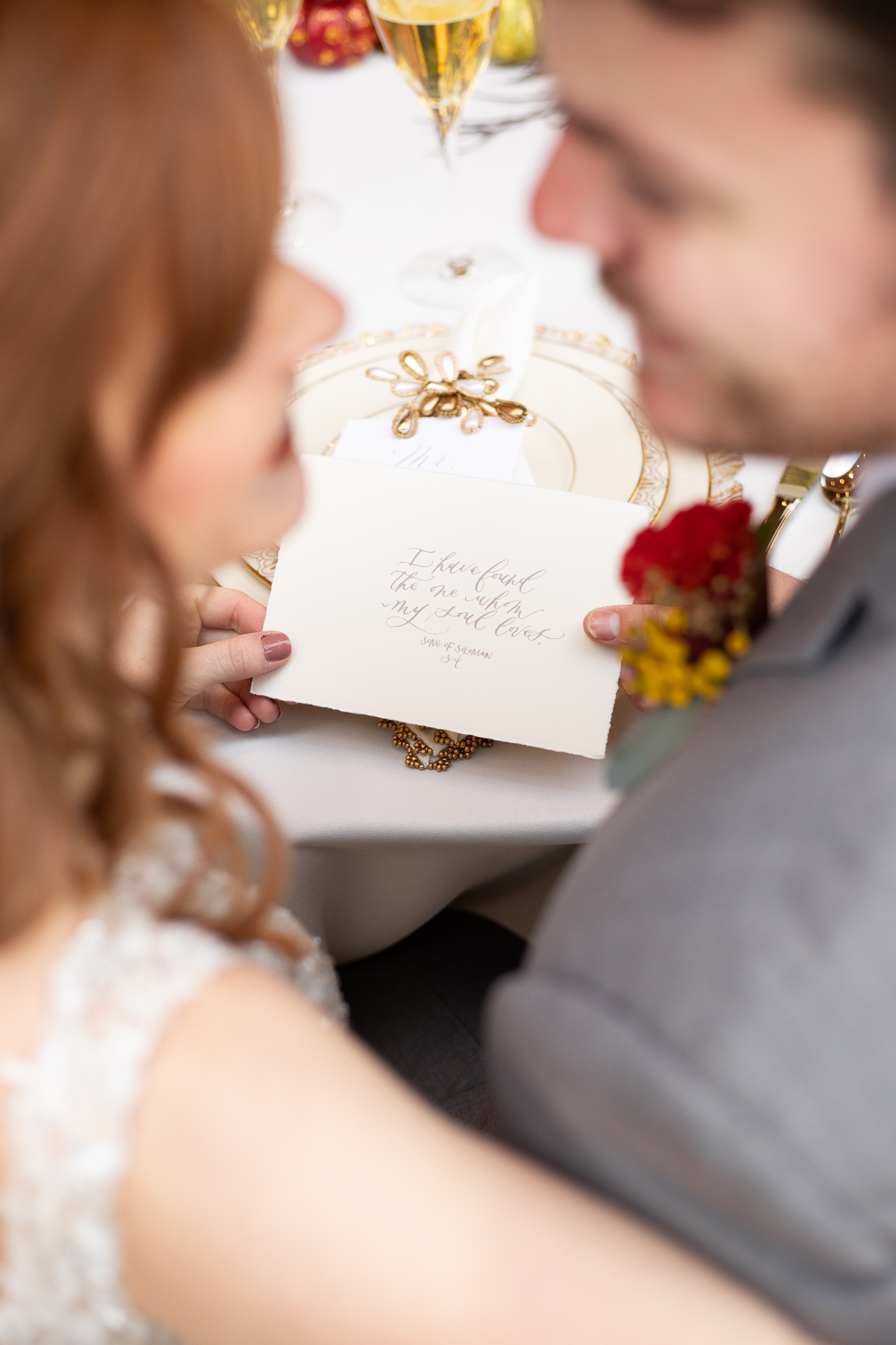 Wood & Grace Bible verse with bride and groom at autumn wedding styled shoot.