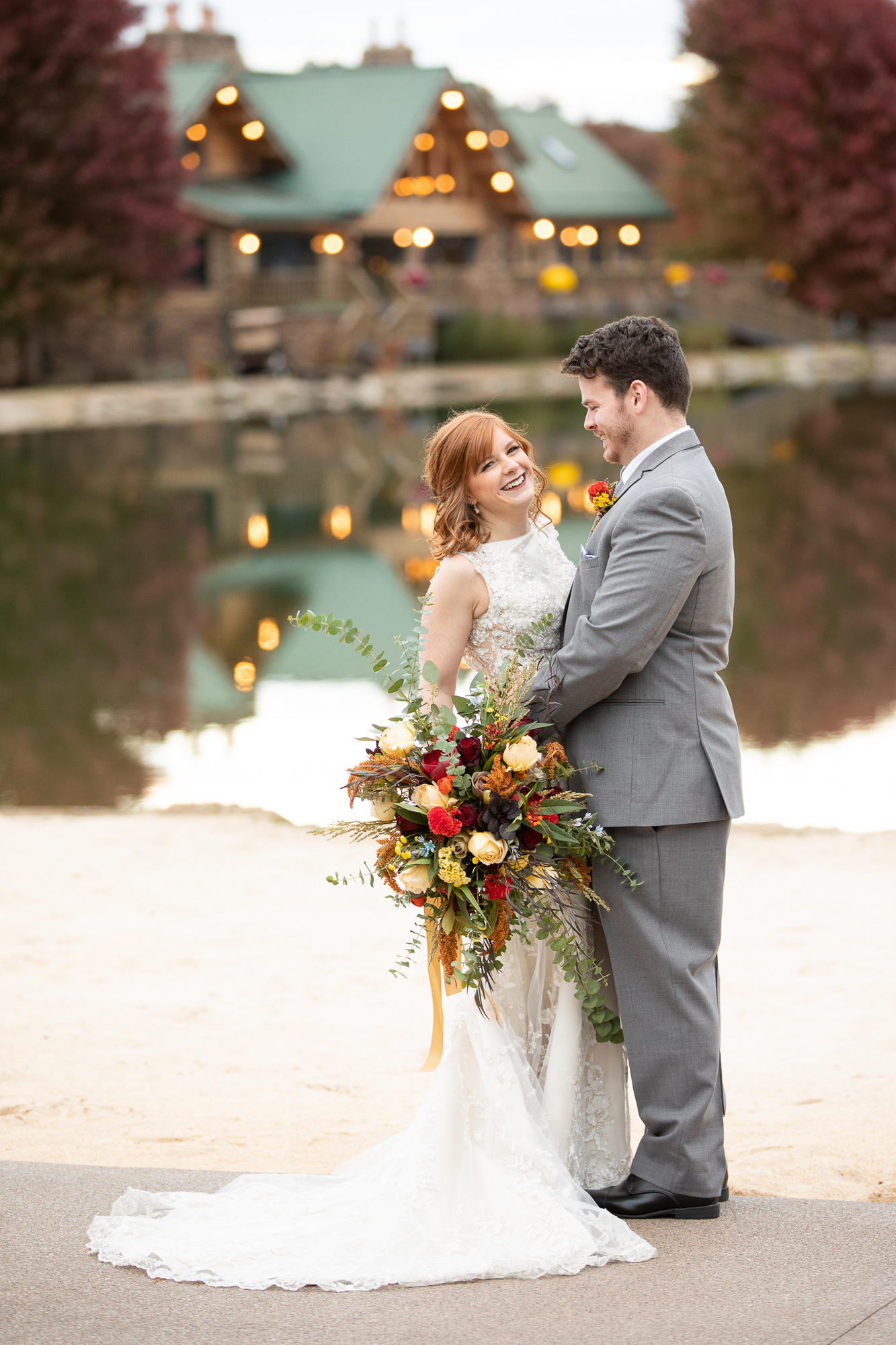 Bride and groom at autumn wedding styled shoot at The Gathering Place.