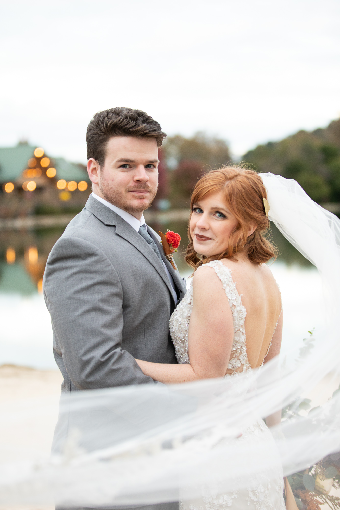 Bride and Groom smiling at The Gathering Place autumn wedding styled shoot.