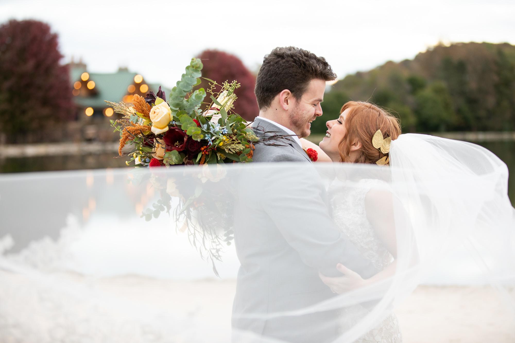 Bride and groom at autumn styled shoot at The Gathering Place at Darlington Lake.