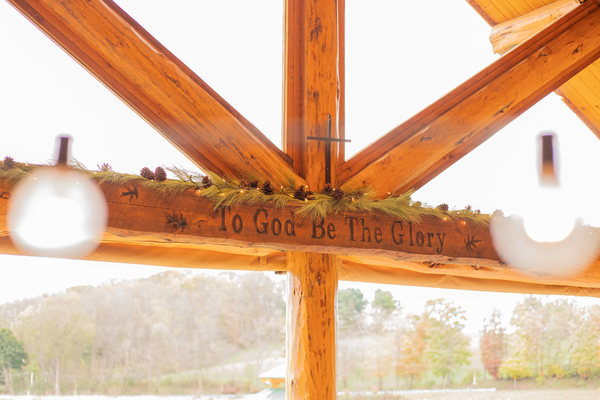 To God be the Glory sign at The Gathering Place at Darlington Lake autumn wedding styled shoot