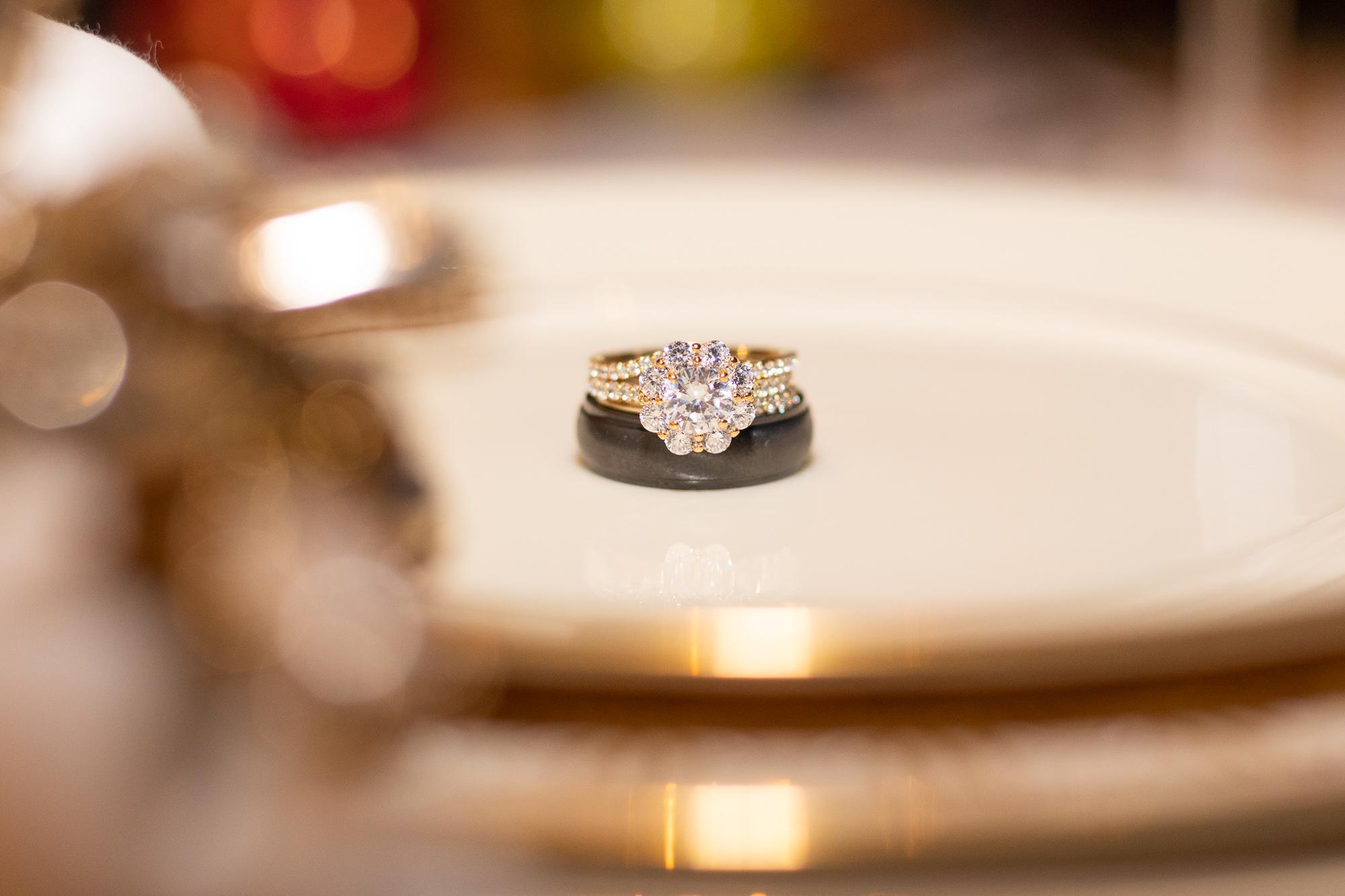 Kimpel's Jewelers wedding rings at autumn wedding styled shoot at The Gathering Place at Darlington Lake.