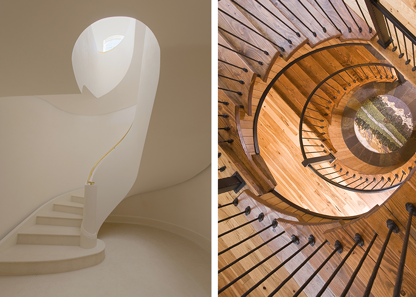Two images of curved staircases