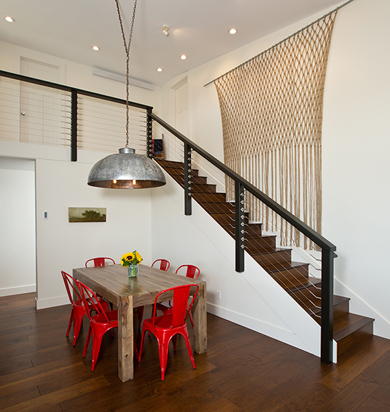 Straight staircase in the Staehr Residence