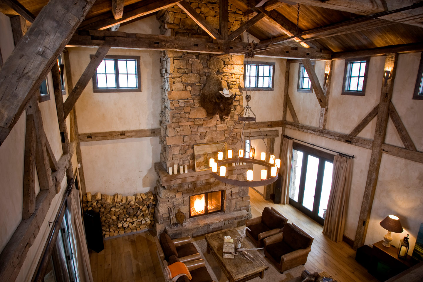 Bird's eye view of the fireplace and living room