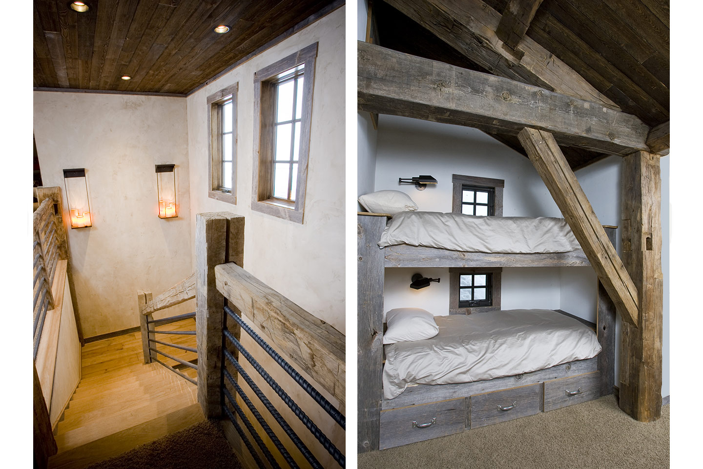 Staircase and bunk beds