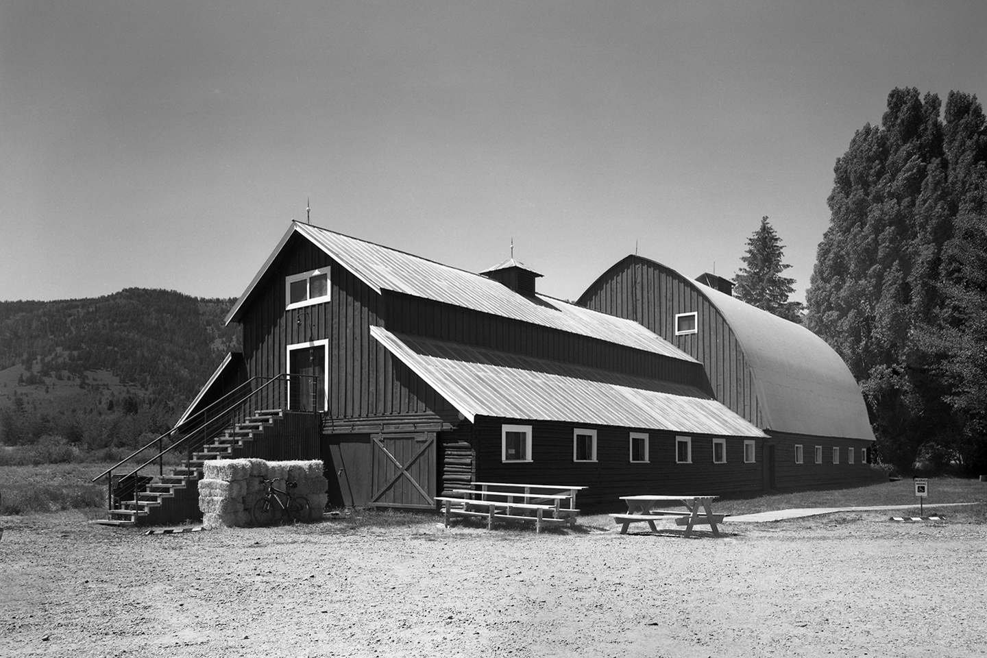 The two adjacent barns