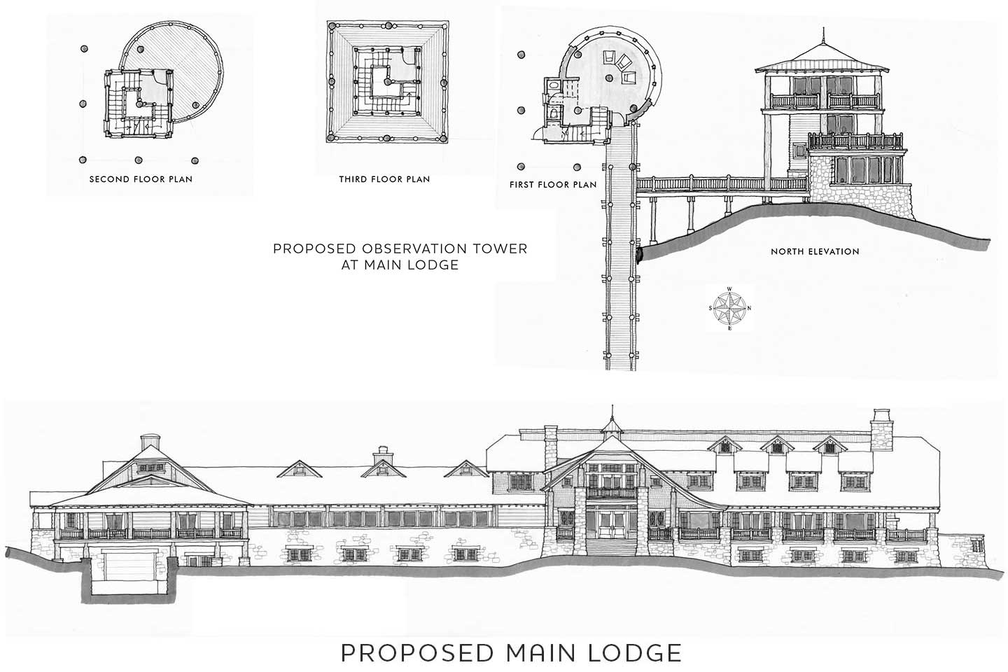 Proposed plans for lodge and tower