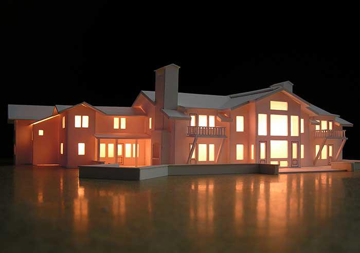 Lit up 3D house model