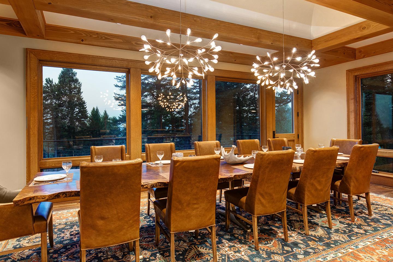 Dining room with designer chandelier