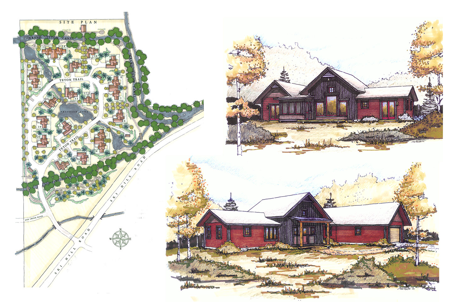 Master plan view and two sketches