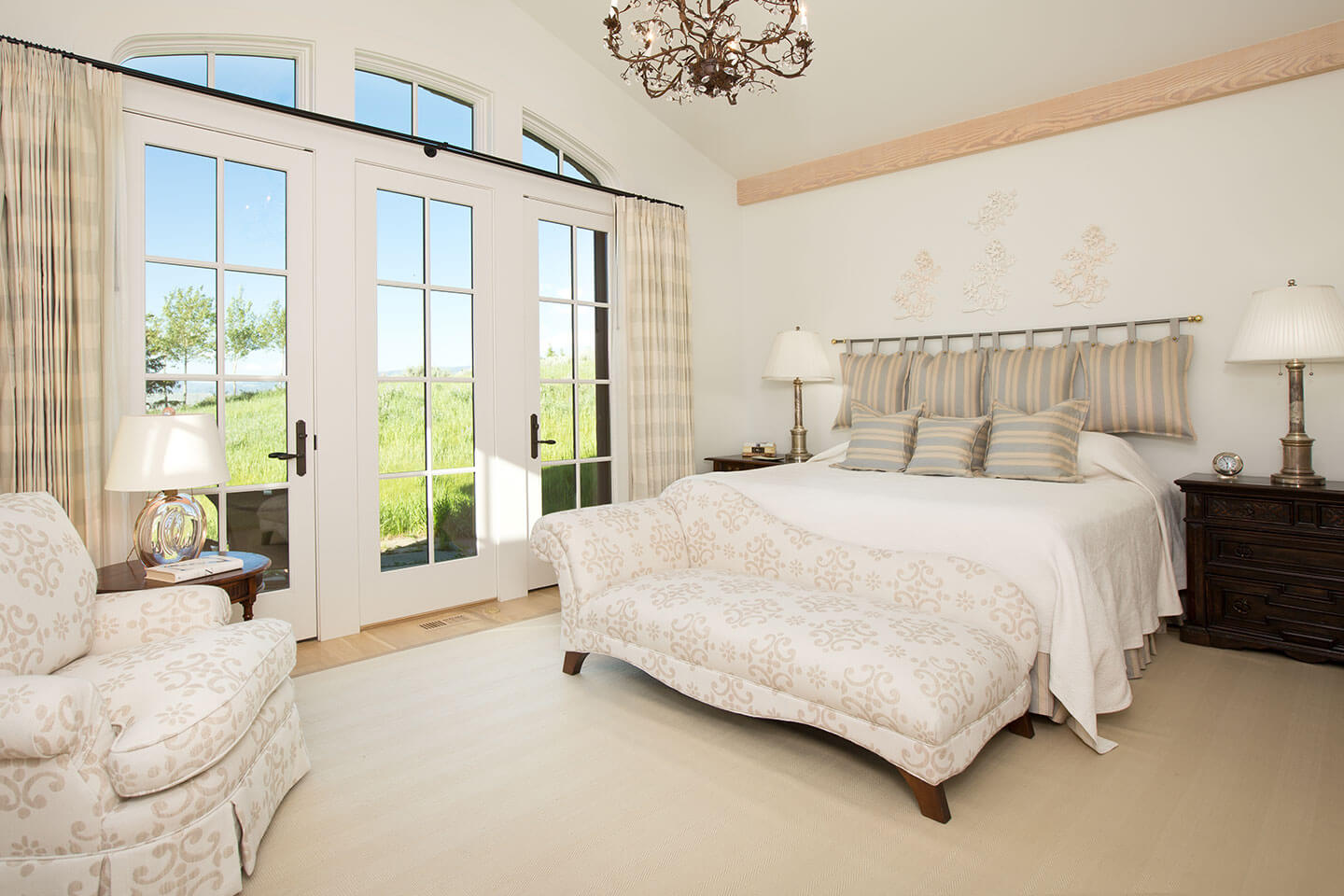 Renaissance style bedroom with an ivory white theme