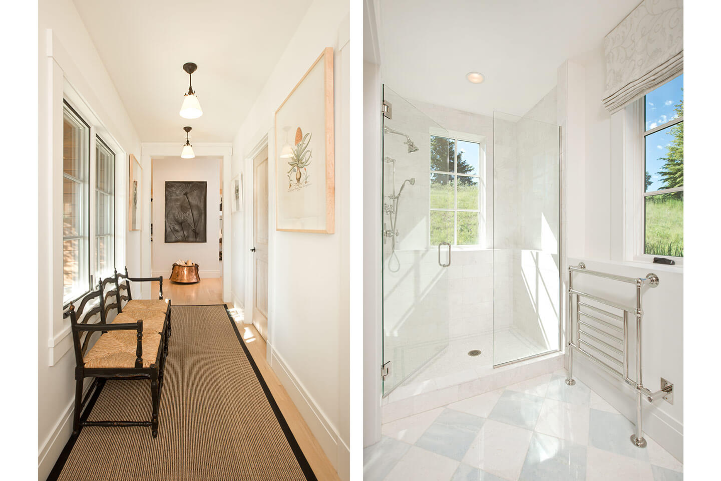 Corridor and white marble bathroom