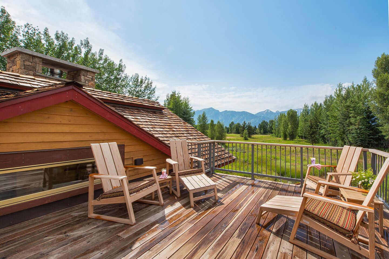 Upstairs deck with view towards Teton mountain range