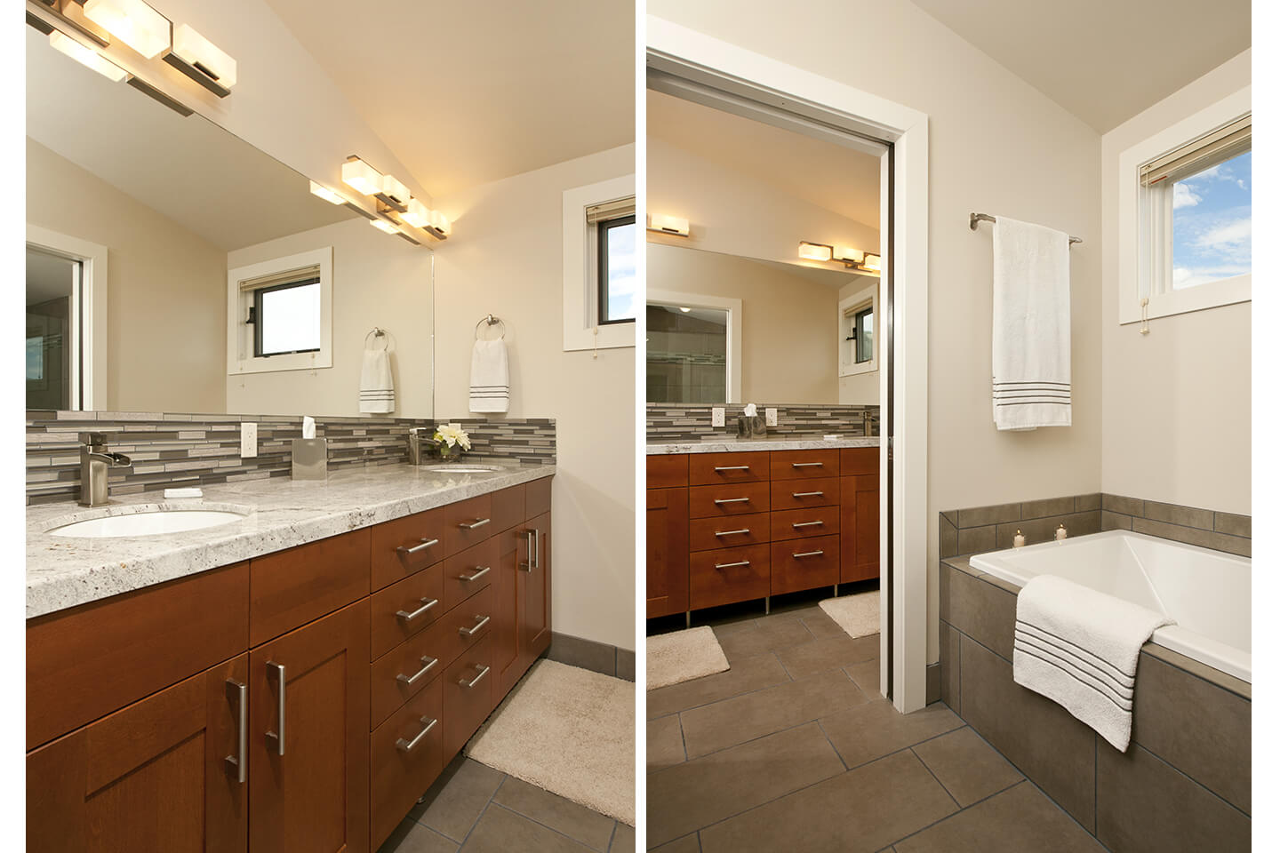 Master bathroom with custom-made cabinets