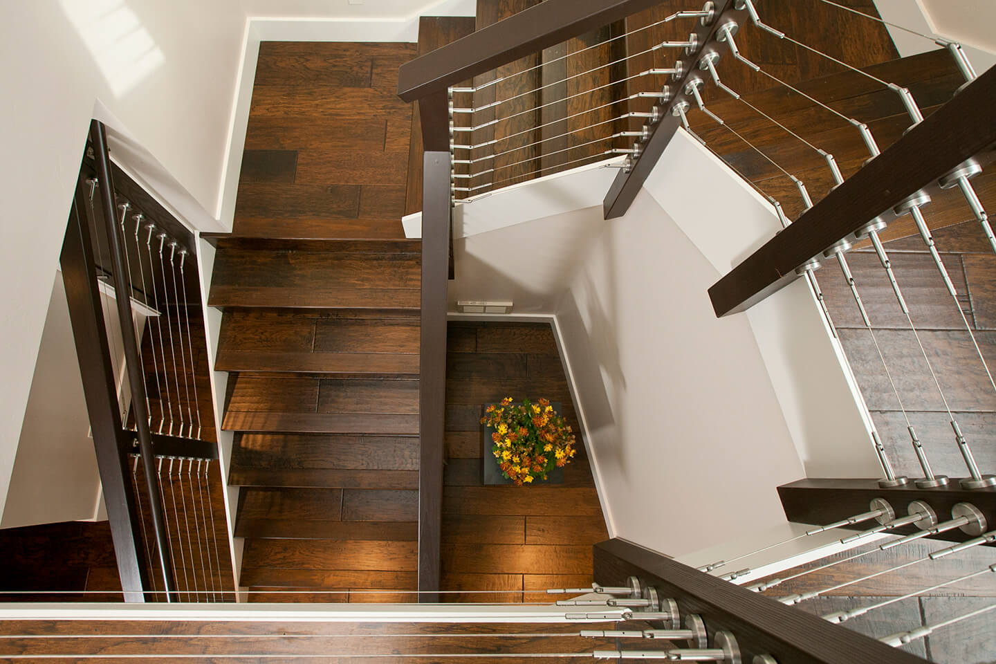 Custom-designed staircase with steel cables
