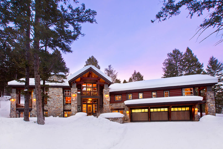 Ski lodge in winter