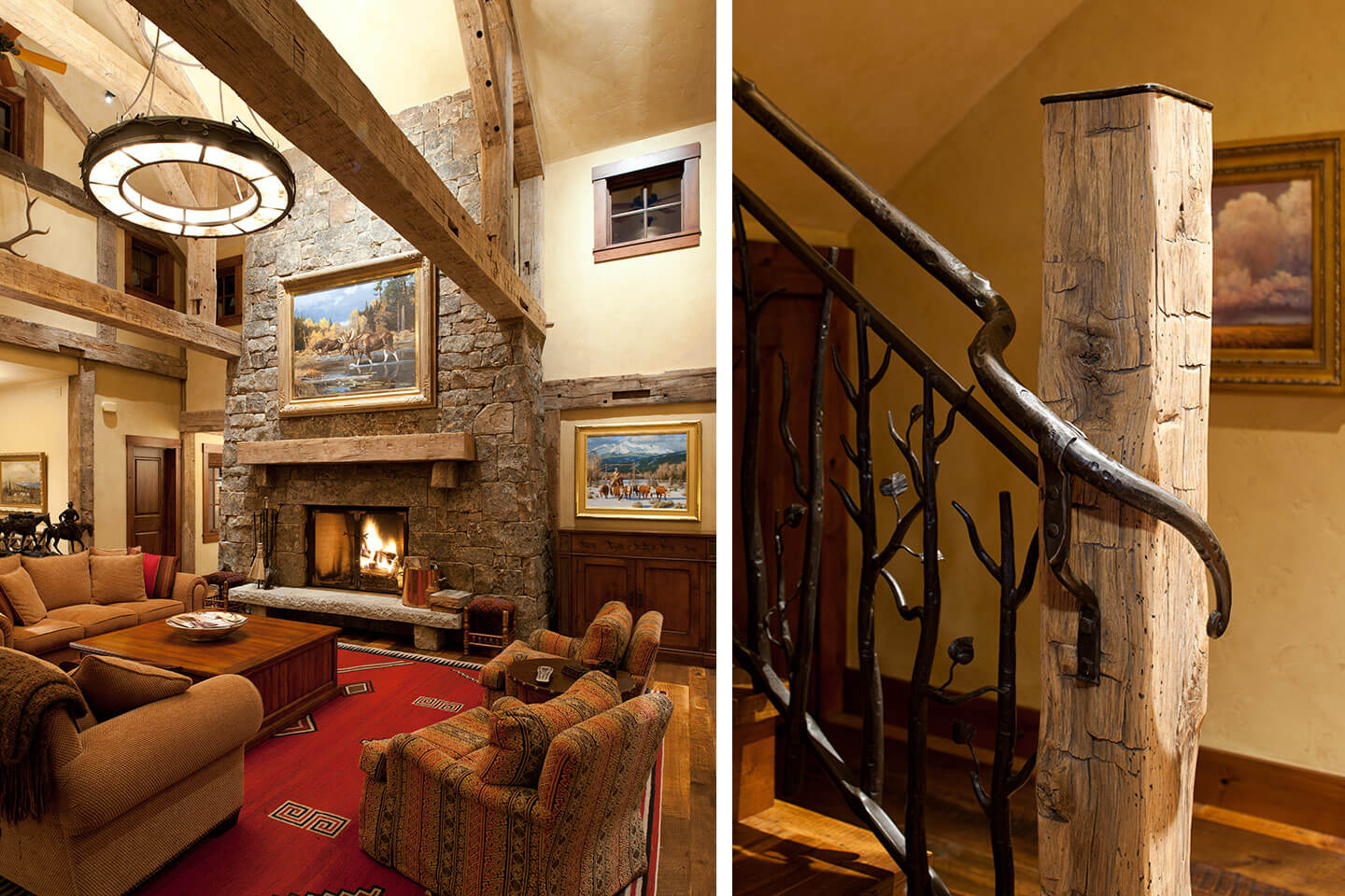 Living room fireplace and staircase detail