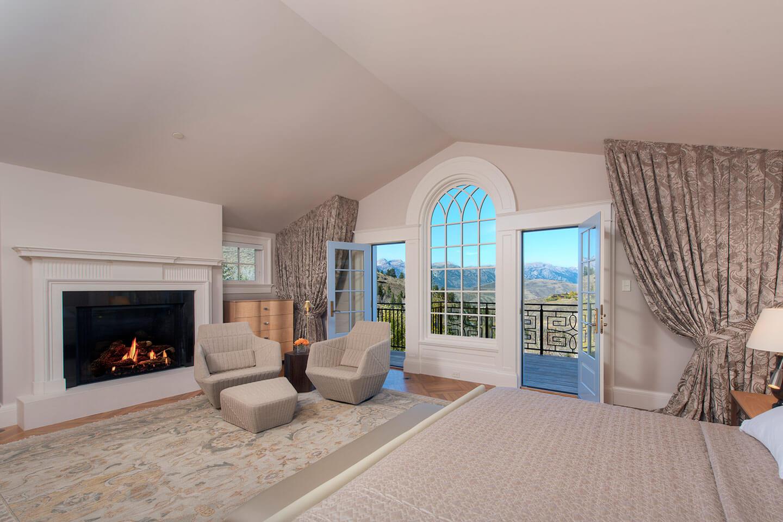 Bedroom with view towards the Teton mountain range