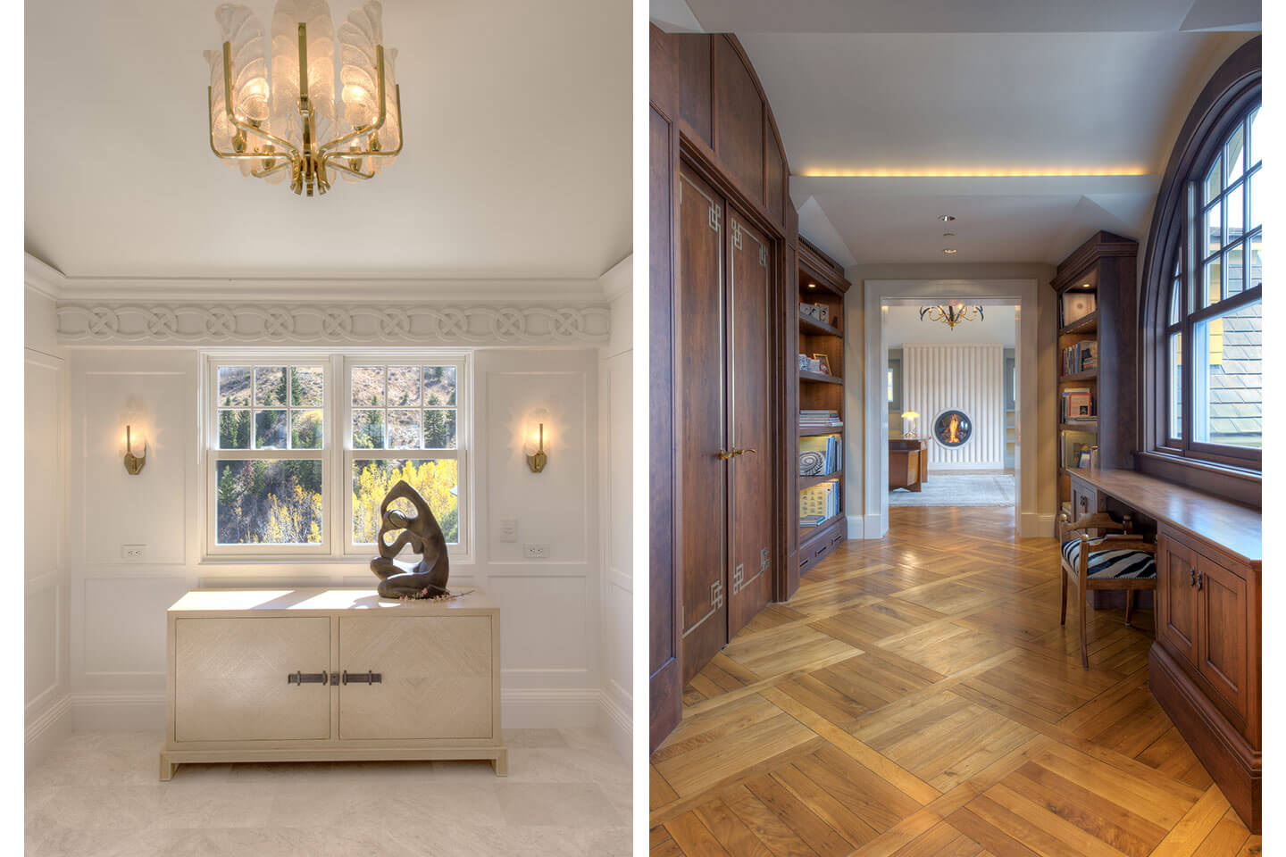 Entryway with plaster mouldings, and library with custom-designed wood floor