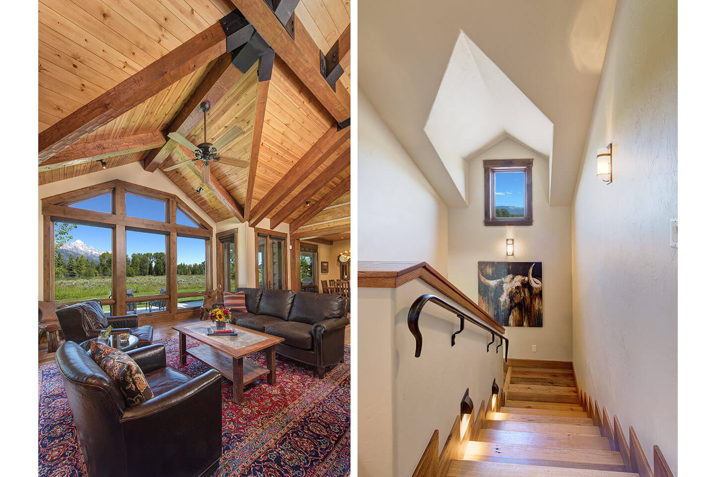 Living room with vaulted wood ceiling and staircase