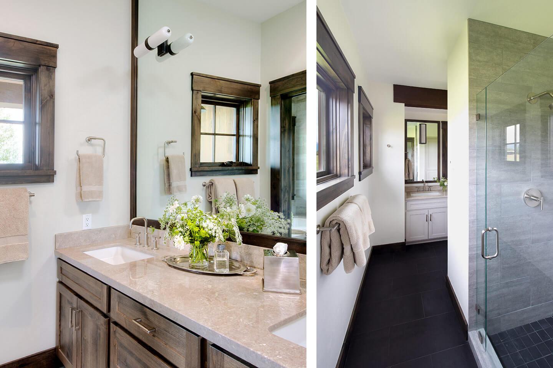 Bathroom with slate flooring