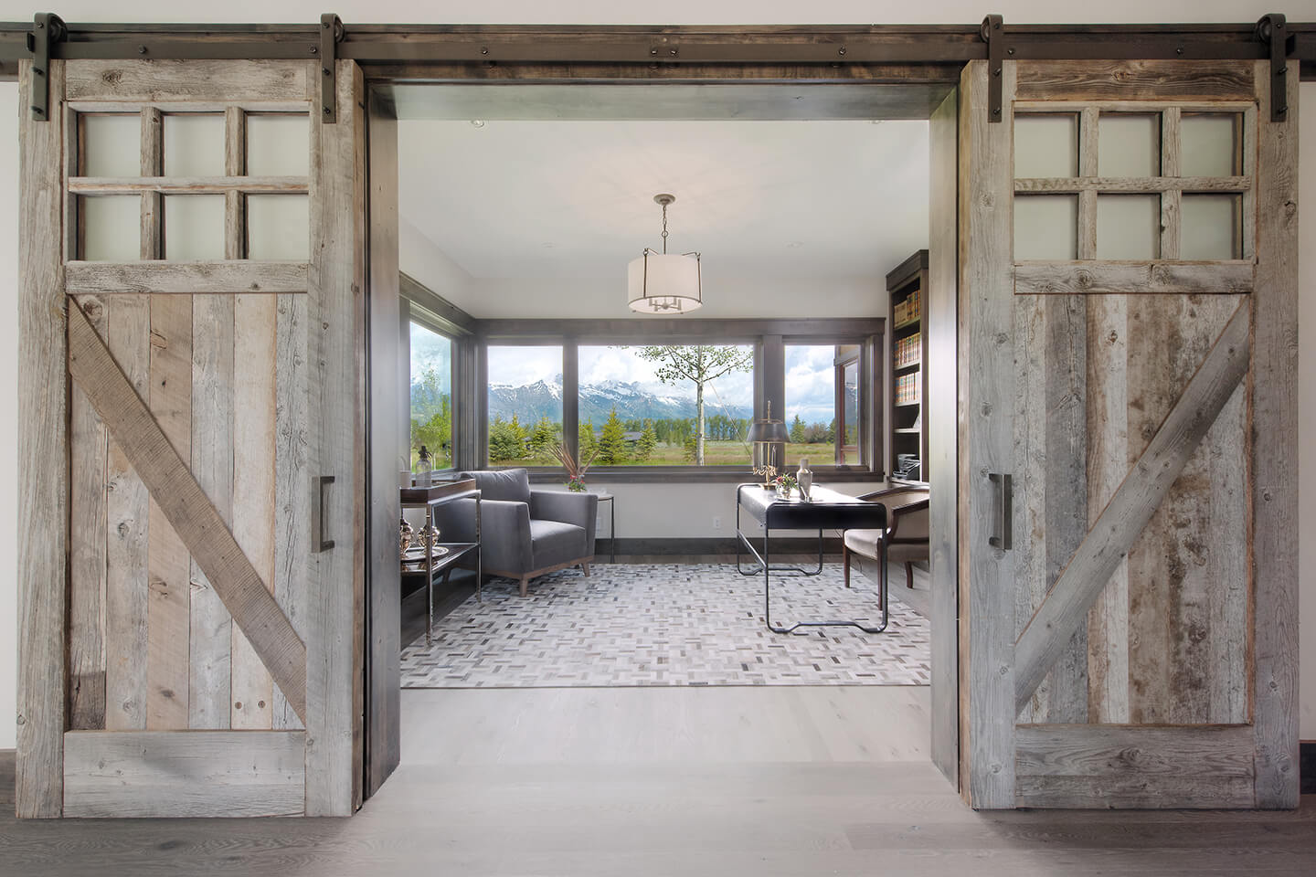 Reading room with sliding doors