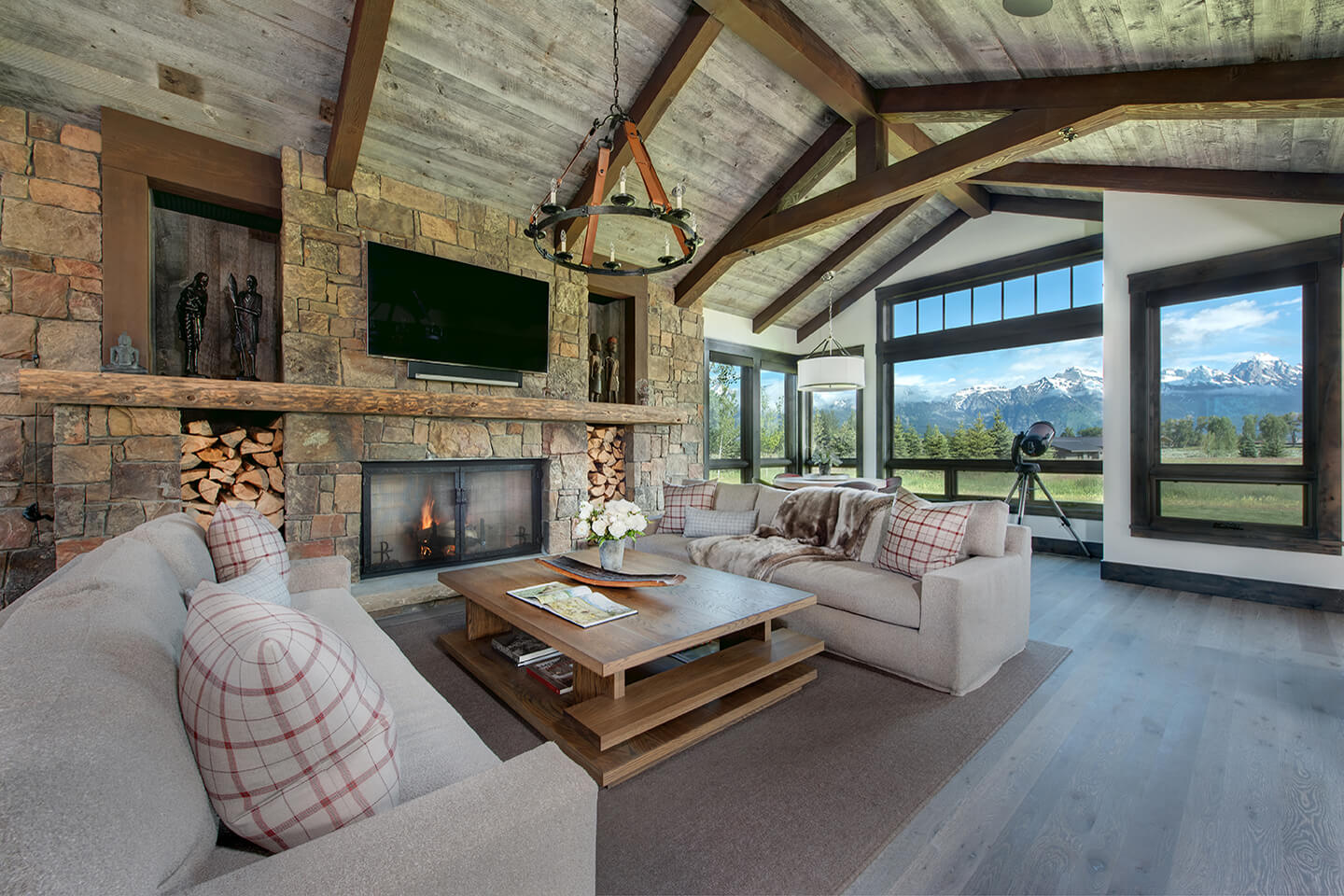 Vaulted reclaimed wood ceiling in living room