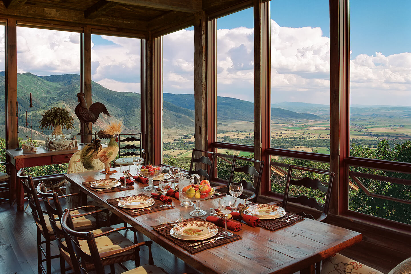 Dining room with large-windows with a view