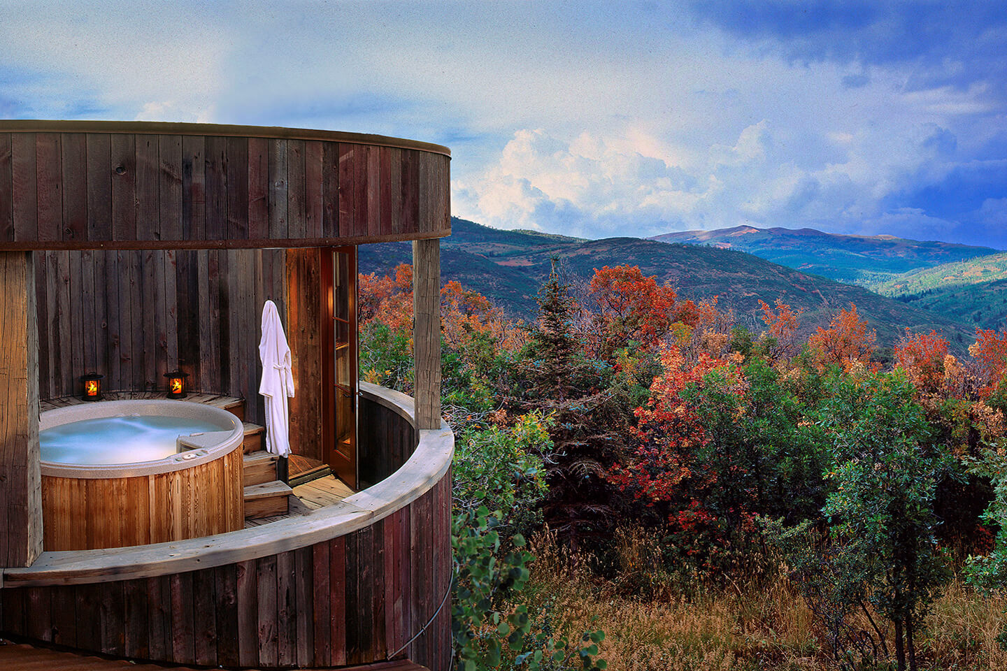 Jacuzzi with a view toward distant hills