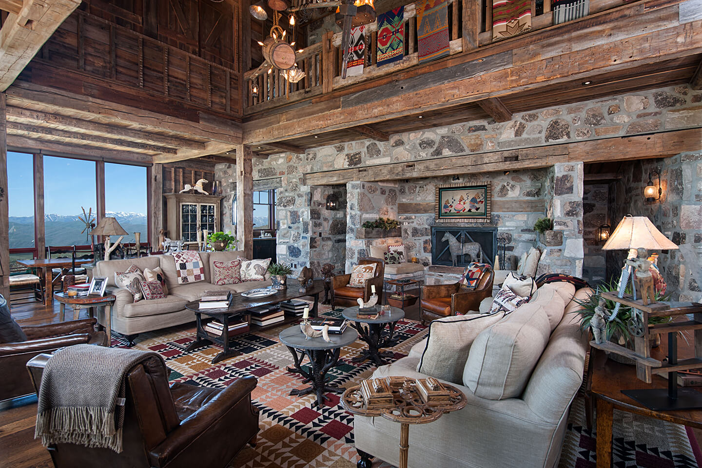 Living room with native stone walls
