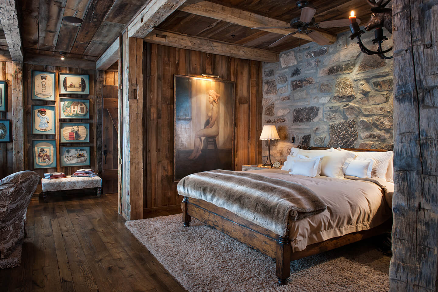 Master bedroom with wood walls, floor, and ceiling