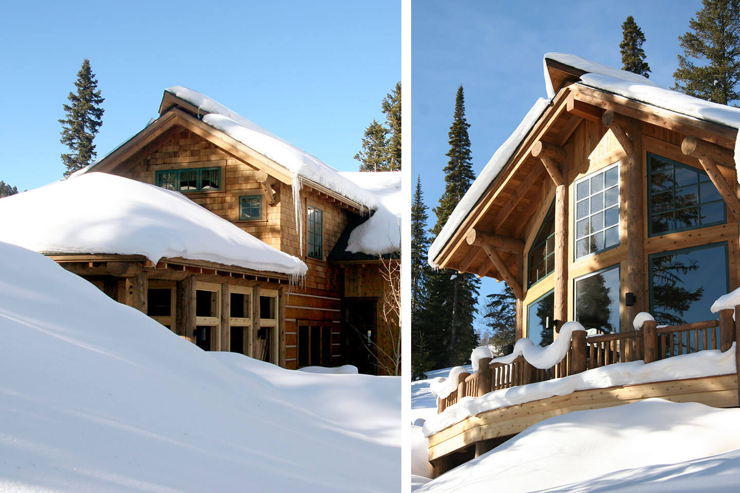 Ski lodge under a heavy snow cover