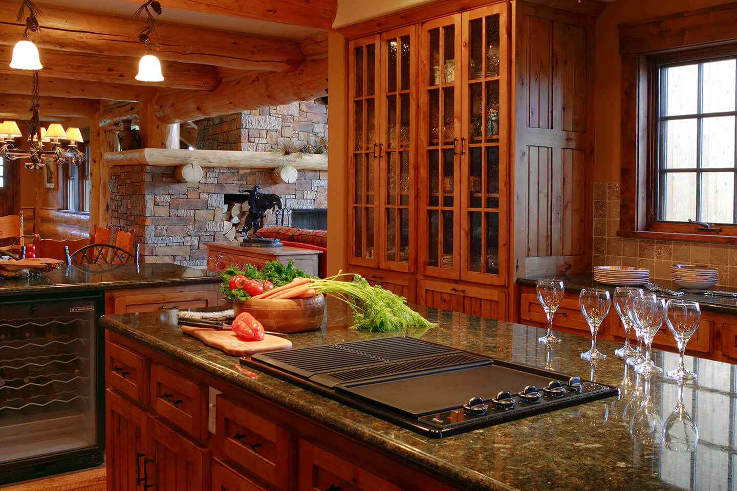 Kitchen with log beams