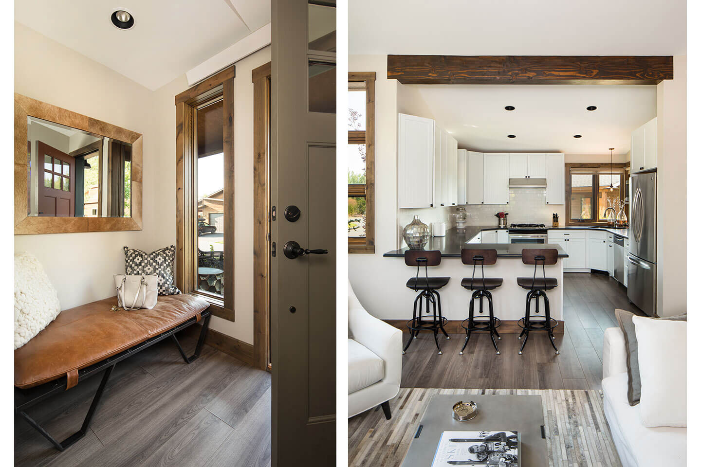 Entryway with bench and kitchen view