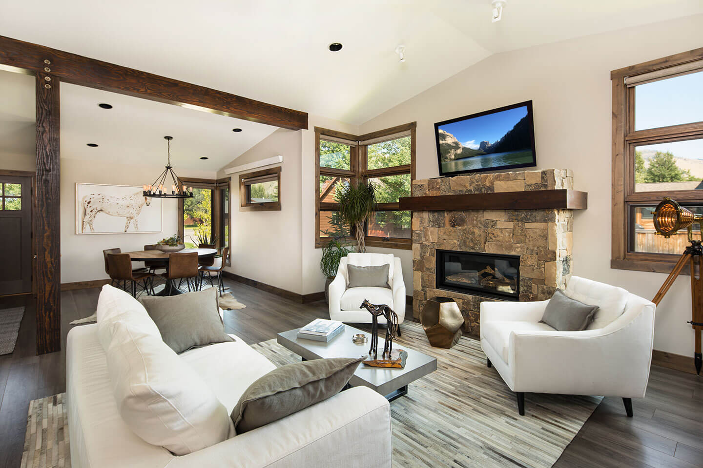 Modern living room with a wooden beam