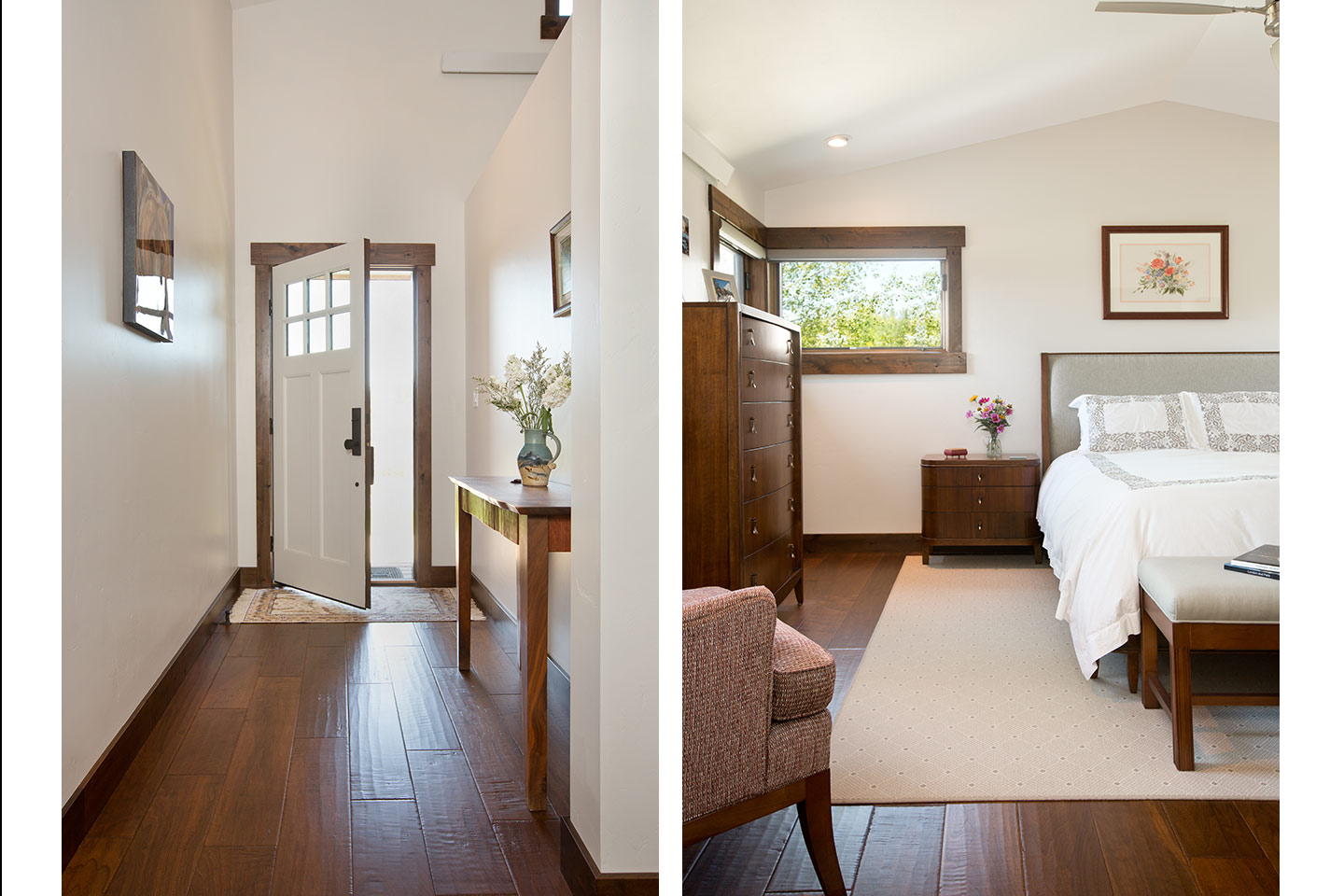 Hallway and bedroom with a simple color palette