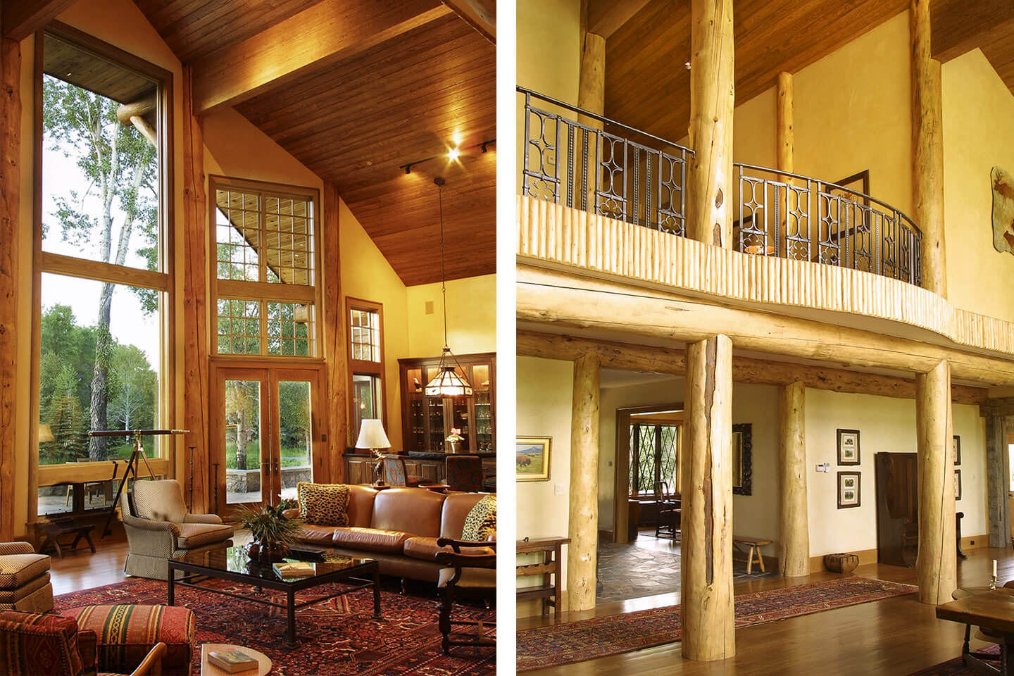 Living room and hallway with peeled lodgepole pine columns
