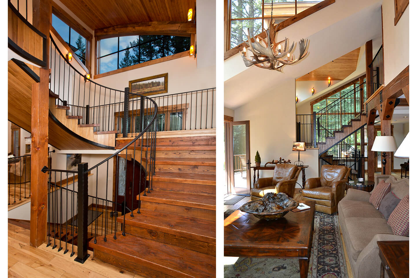 Spiral staircase and living room