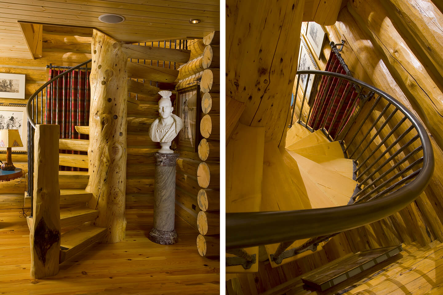 Log spiral staircase with Native American sculpture
